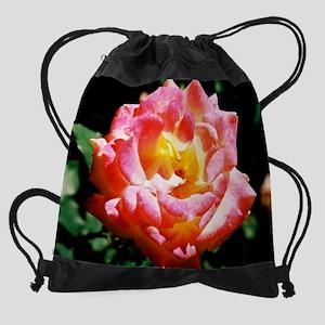 mousepad pink and yellow rose Drawstring Bag