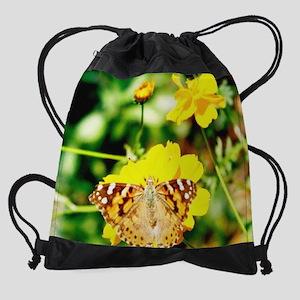 mousepad marigold butterfly Drawstring Bag