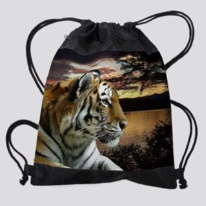Sunset Tiger Drawstring Bag