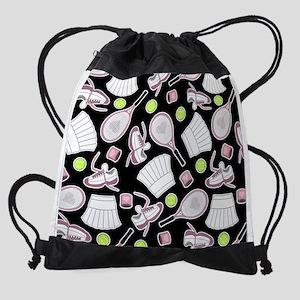 Tennis Girl Pattern Black Backgroun Drawstring Bag