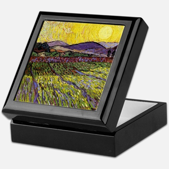Van Gogh Field with Rising Sun Keepsake Box