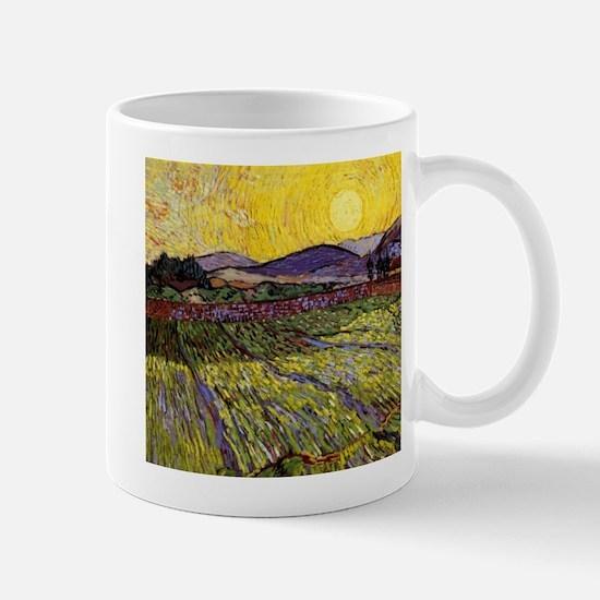 Van Gogh Field with Rising Sun Mug