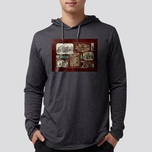 Paris Opera House, Vintage Red Collage Mens Hooded