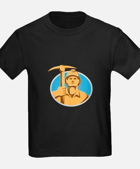 Coal Miner With Pick Ax Hardhat Front Retro T-Shir