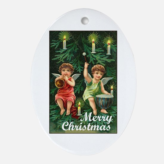 Merry Christmas - Tiny Angels on Tree Ornament (Ov