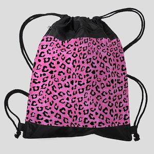 Leopard Print Spot Pattern Pink and Drawstring Bag