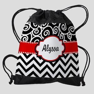 Black Red Swirls Chevron Personaliz Drawstring Bag