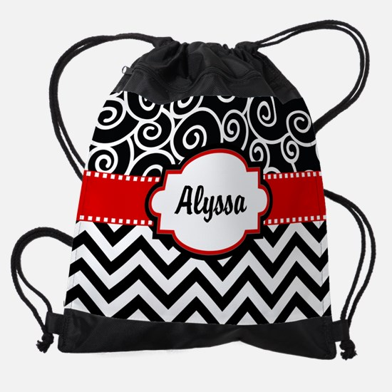 Black Red Swirls Chevron Personaliz Drawstring Bag