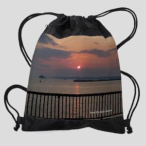 Sunset Erie Basin Marina Drawstring Bag