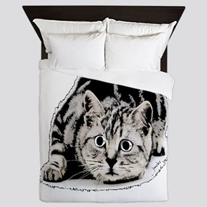 cat portrait black and white Queen Duvet