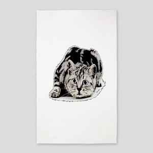 cat portrait black and white 3'x5' Area Rug