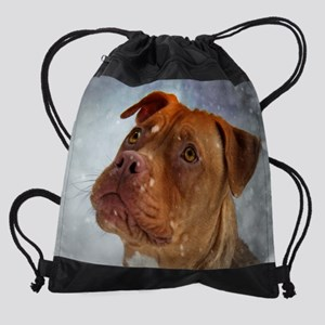 Snowing January Red Pit Bull Dog Drawstring Bag