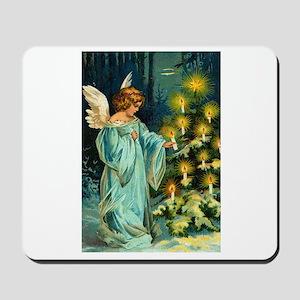 Angel Lighting Candles on Christmas Tree Mousepad