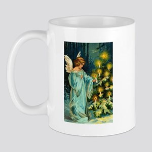 Angel Lighting Candles on Christmas Tree Mug