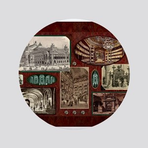 Paris Opera House, Vintage Red Collage Button