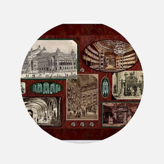 Paris Opera House, Vintage Red Collage Button