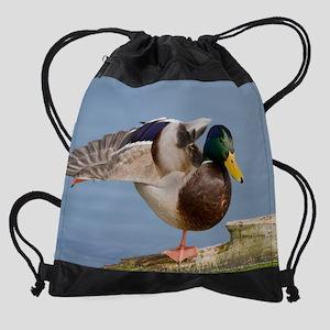 Mallard duck fanning wing Drawstring Bag