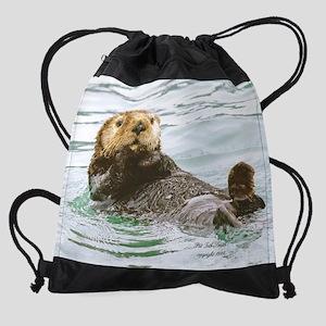 sea otter Drawstring Bag
