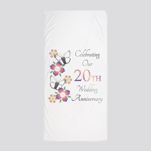 Elegant 20th Anniversary Beach Towel