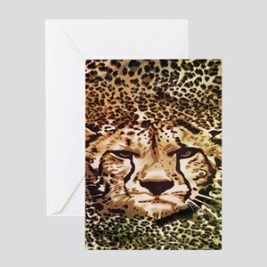modern leopard print leopard Greeting Cards