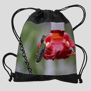 Humingbird at Feeder 2300 x 1800 Drawstring Bag