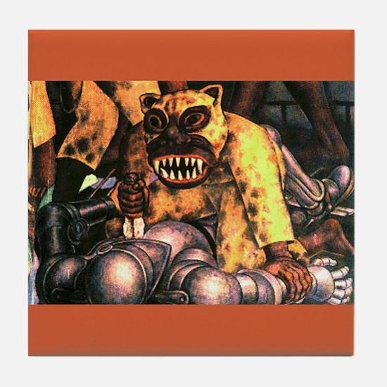 Diego Rivera Mural Art Tile Coaster La Conquista