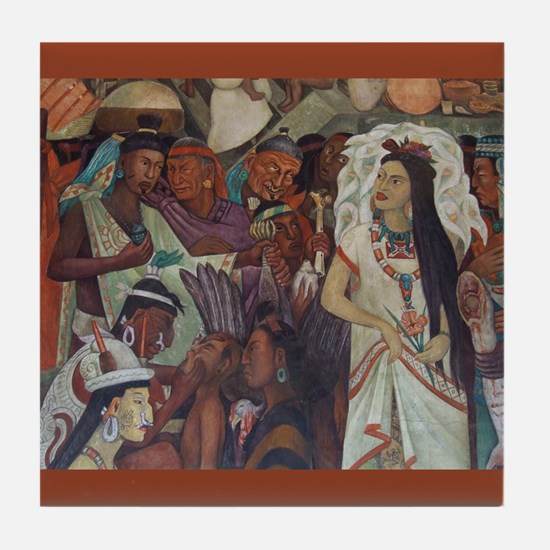 Diego Rivera Mexican Indian Mural Art Tile Coaster