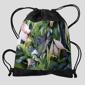 Hummingbird on Mandevilla 2  2300x  Drawstring Bag