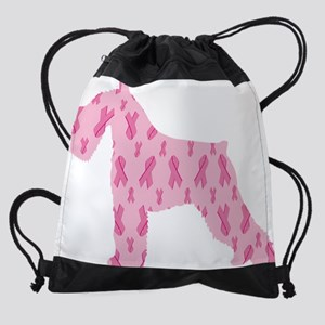 Pink Ribbon Schnauzer for Cancer Drawstring Bag