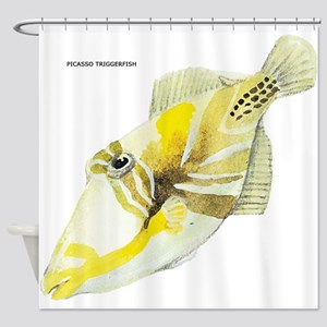 Picasso Triggerfish Fish Shower Curtain