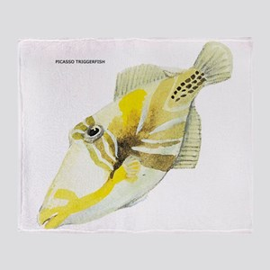 Picasso Triggerfish Fish Throw Blanket