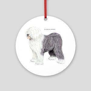 Old English Sheepdog Dog Ornament (Round)