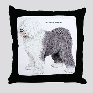 Old English Sheepdog Dog Throw Pillow