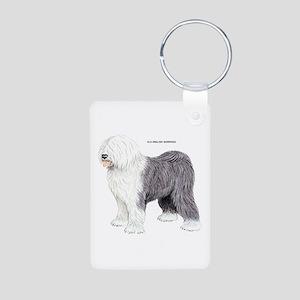 Old English Sheepdog Dog Aluminum Photo Keychain