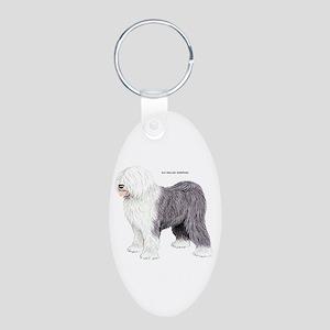 Old English Sheepdog Dog Aluminum Oval Keychain