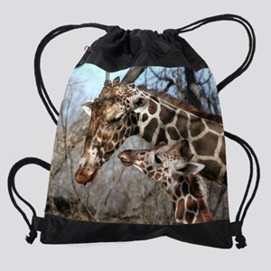 Mom Kid Giraffe Calendar Drawstring Bag