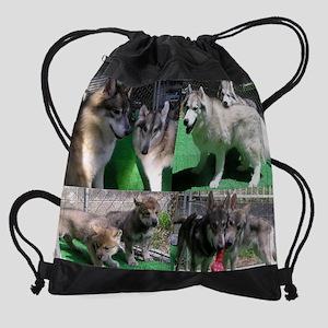 Doggie Collage Rev2 Res Drawstring Bag