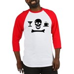 Beverage Jolly Roger Baseball Jersey, Red Sleeves