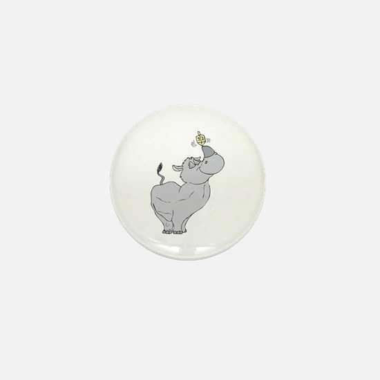 Rhino with Dreidel Mini Button