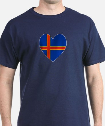 Aland Island Flag Heart T-Shirt