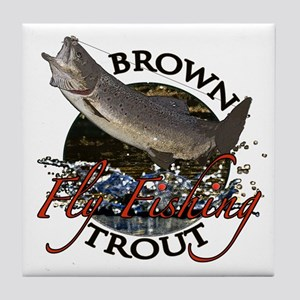 Brown trout fishing Tile Coaster