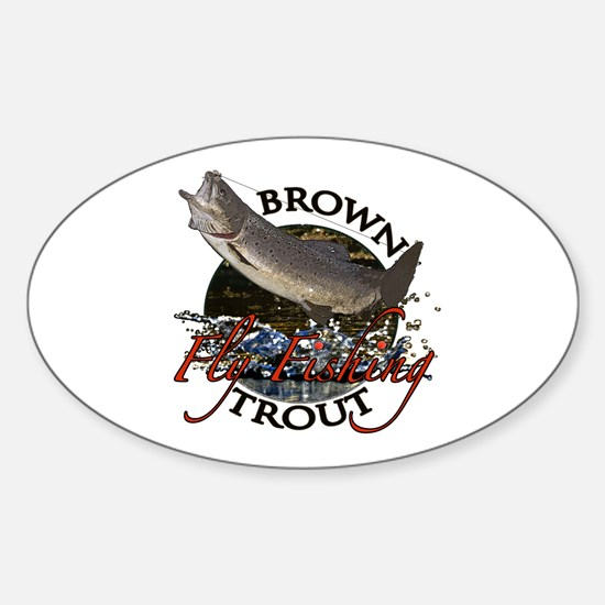 Brown trout fishing Sticker (Oval)