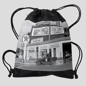 Garage and Gas Station, 1940 Drawstring Bag