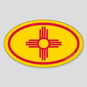 New Mexico Flag Euro Oval Sticker