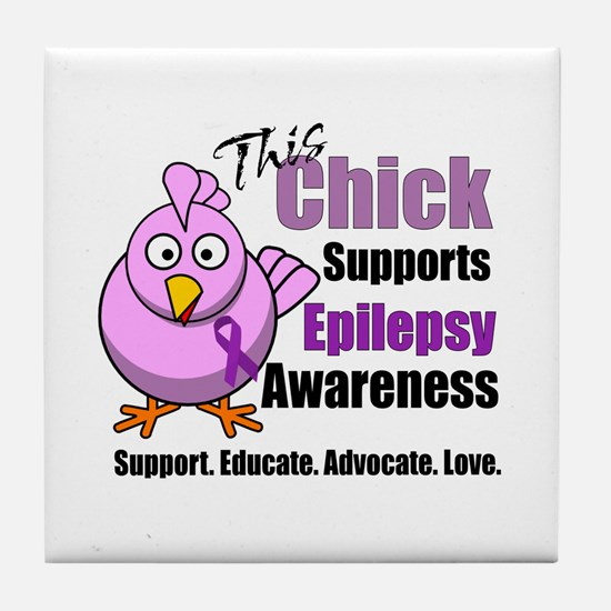 This Chick Supports Epilepsy Awareness Tile Coaste