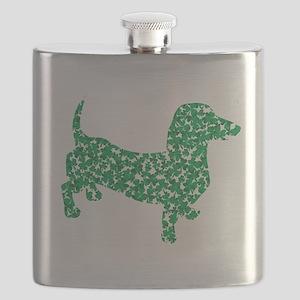 St. Patricks Day Dachshund Doxie Flask