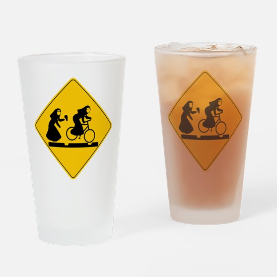 Bad Nuns Riding Bicycle Drinking Glass