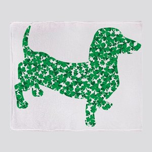 St. Patricks Day Dachshund Doxie Throw Blanket