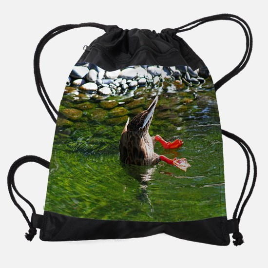 16by20#bottoms-up-duck.jpg Drawstring Bag