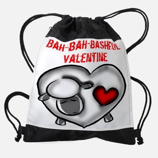 bashful valentine w.png Drawstring Bag